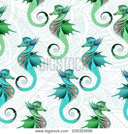 Seamless vector pattern with seahorses. Texture for wallpapers pattern fills textile design web page backgrounds