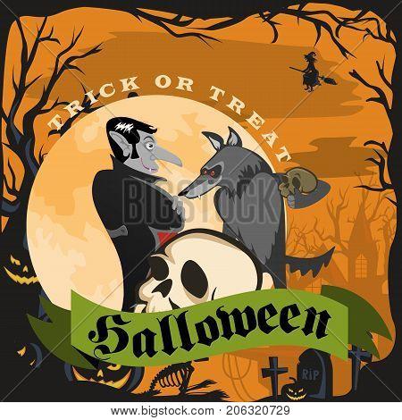 Werewolf holding skull on halloween on the cemetery background, horror wolf at night vector invintation, autumn holliday illustration.