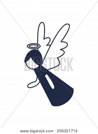 Christmas angel figurine isolated vector icon. Merry christmas and happy new year symbol illustration.