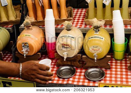 Rome Italy - August 22 2016: Limoncello and others liquors in a street market in Campo di Fiori Square in Rome
