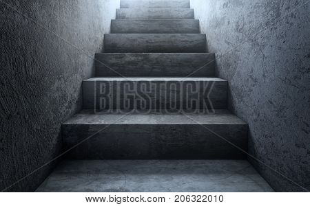 Old dirty concrete stairs to light. 3d rendering