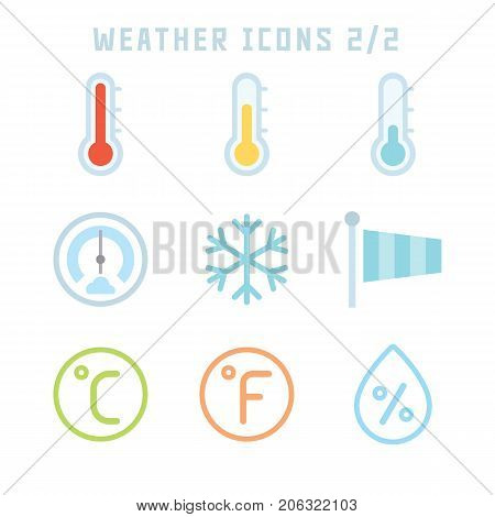 Weather icons in flat style for your meteorology projects or weather publications.