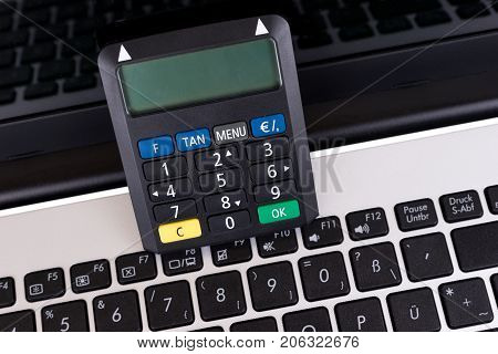 Optical chip TAN Generator and laptop for Banking