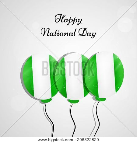 illustration of balloons in Nigeria flag background with Happy National Day text on the occasion of Nigeria National Day