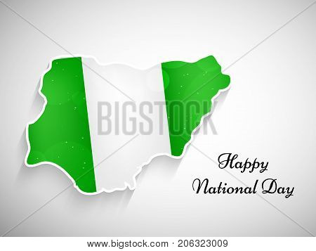 illustration of Nigerial map in Nigeria flag background with Happy National Day text on the occasion of Nigeria National Day