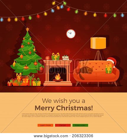 Christmas fireplace room interior in colorful cartoon flat style. Christmas tree, gifts, decoration, light bulb chain, sofa, fireplace, santa heat. Cozy noel xmas night celebration interior vector illustration.