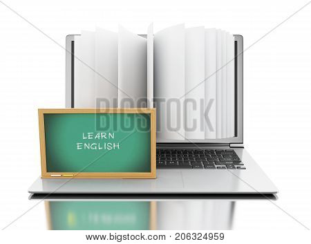 3d illustration. Laptop computer with book pages Laptop computer with book pages and