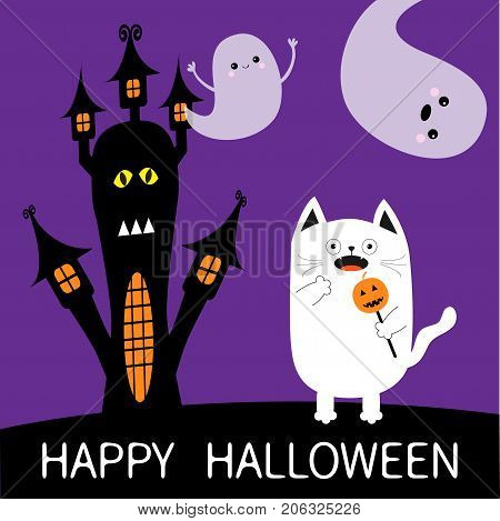 Happy Halloween. Spooky frightened cat holding pumpkin face on stick. Haunted house silhouette. Two flying ghosts hands up Boo. Funny Cute cartoon baby character Flat design Violet background Vector