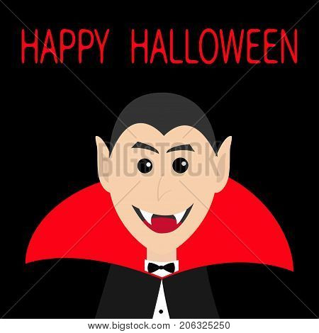 Count Dracula head face wearing red cape. Cute cartoon smiling vampire character with fangs. Happy Halloween. Greeting card. Flat design. Black background. Isolated. Vector illustration