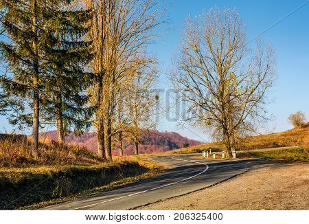 Winding Road In Late Autumn Mountains