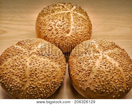 Baked Sesame Toppings on Freshly Baked Bread