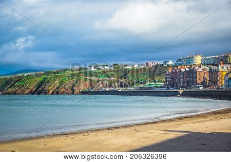 Beautiful beach and coastline of the seaside town Peel, Isle of Man