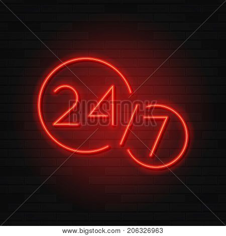 Open 24/7 Hours Neon Symbol. Modern Neon Red Billboard on Brick Wall. Concept of Glowing Sign for 24 Hours Night Club or Bar.