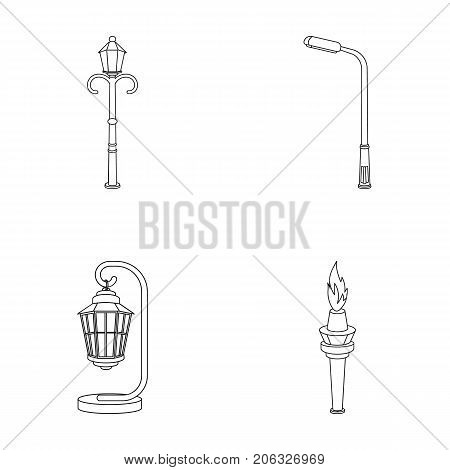 Lamppost in retro style, modern lantern, torch and other types of streetlights. Lamppost set collection icons in outline style vector symbol stock illustration .