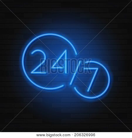Open 247 Hours Neon Symbol Template. Modern Neon Blue Billboard on Brick Wall. Concept of Glowing Sign for 24 Hours Night Club or Bar.