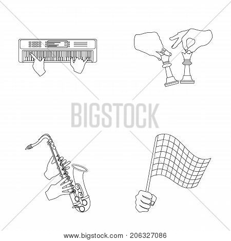 Playing on an electric musical instrument, manipulation with chess pieces and other  icon in outline style. playing on a gold saxophone, checkered flag of auto racing in hand icons in set collection.