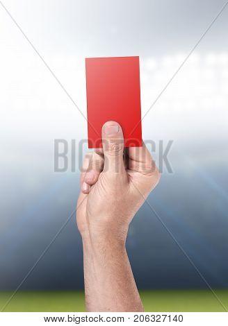 Red Card On Stadium Background
