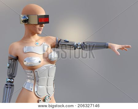 3D rendering of a sexy female android robot posing against a gray background.