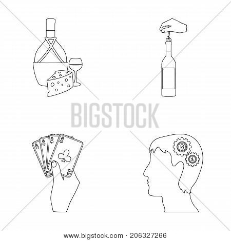 Bottle, a glass of wine and cheese, clogging with a corkscrew and other  icon in outline style. A combination of cards in hand, a person's head and an idea generator icons in set collection.