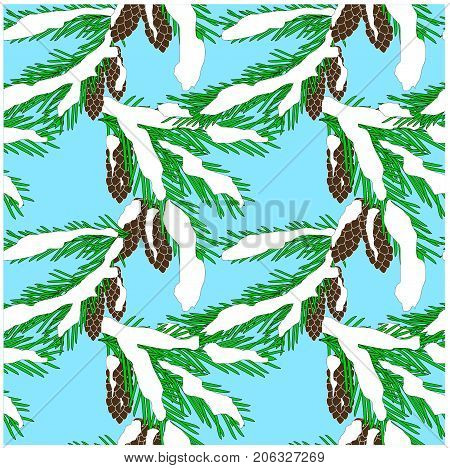 Seamless background of green fir branches in white snow with brown cones on blue, clip art stock vector illustration