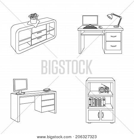 A shelf with a flower, a desk with a computer and a lamp, a table with a monitor and a book, a cabinet with documents and a radio.Furniture and interior set collection icons in outline style isometric vector symbol stock illustration .