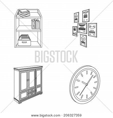 Cabinet, shelving with books and documents, frames on the wall, round clocks. Office interior set collection icons in outline style isometric vector symbol stock illustration .
