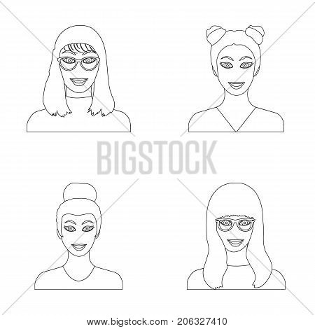 The face of a girl with glasses, a woman with a hairdo. Face and appearance set collection icons in outline style vector symbol stock illustration .