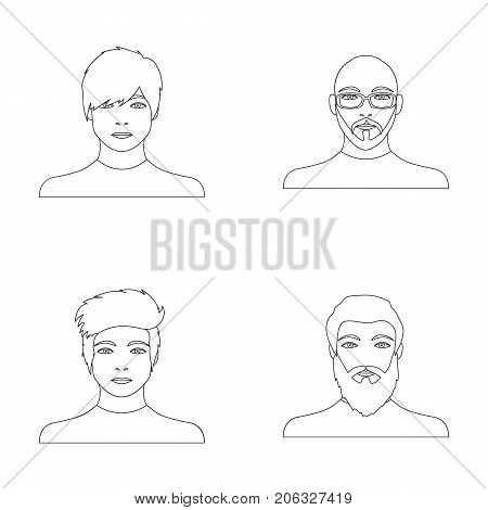 The face of a Bald man with glasses and a beard, a bearded man, the appearance of a guy with a hairdo. Face and appearance set collection icons in outline style vector symbol stock illustration .