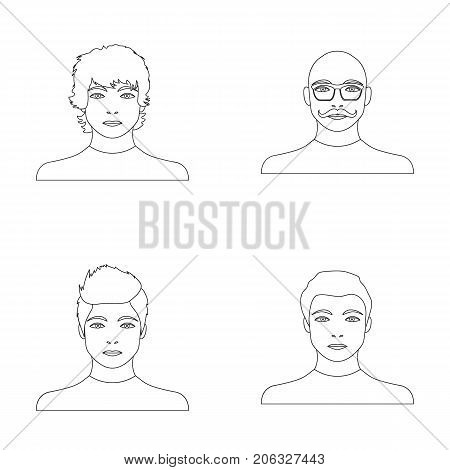 The appearance of the young guy, the face of a bald man with a mustache in his glasses. Face and appearance set collection icons in outline style vector symbol stock illustration .
