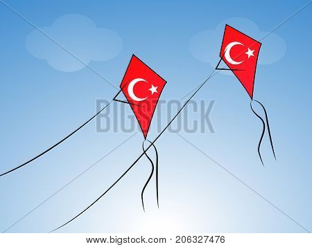 illustration of kites in Turkey flag background on the occasion of Republic Day of Turkey