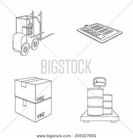 Forklift, delivery slips, packaged goods, cargo on weighing scales. Logistics and delivery set collection icons in outline style isometric vector symbol stock illustration .