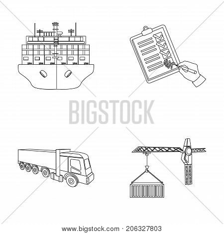 Sea freight, signature of delivery documents, truck, tower crane with a container. Logistics and delivery set collection icons in outline style isometric vector symbol stock illustration .