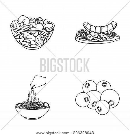 Assorted nuts, fruits and other food. Food set collection icons in outline style vector symbol stock illustration .