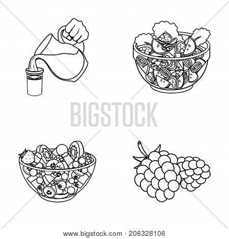 Fruit, vegetable salad and other types of food. Food set collection icons in outline style vector symbol stock illustration .