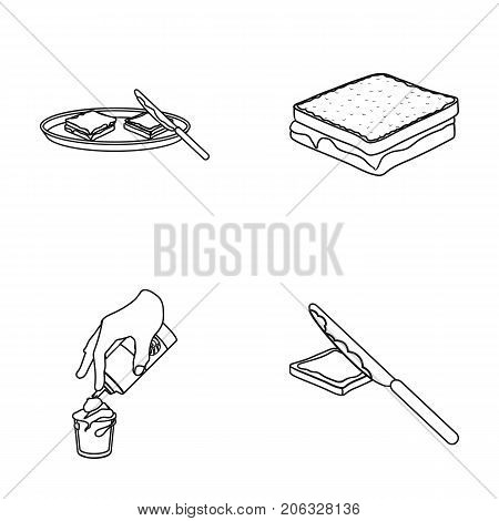 Dessert with cream, a sandwich and other food. Food set collection icons in outline style vector symbol stock illustration .