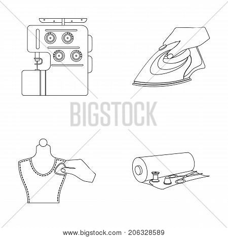 Electric sewing machine, iron for ironing, marking with chalk clothes, roll of fabric and other equipment. Sewing and equipment set collection icons in outline style vector symbol stock illustration .