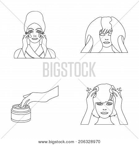 Cosmetic, salon, hygiene, and other  icon in outline style. Napkin, hygienic, hairdresser, icons in set collection.