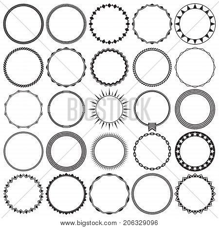 Vector Collection of Round Decorative Border Frames with Clear Background. Ideal for vintage label designs.