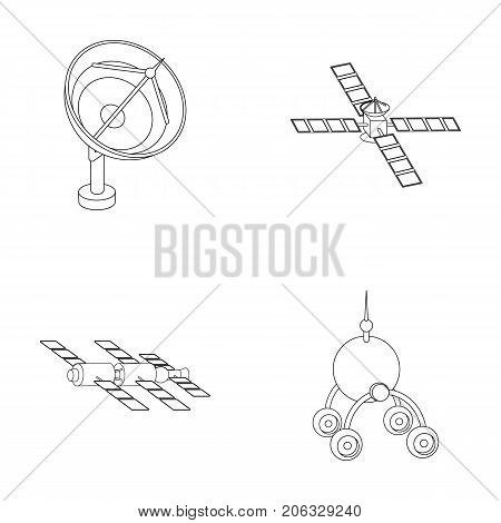 Radio radar, docking in space spacecraft, Lunokhod. Space technology set collection icons in outline style vector symbol stock illustration .