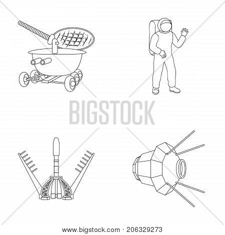 Lunokhod, space suit, rocket launch, artificial Earth satellite. Space technology set collection icons in outline style vector symbol stock illustration .