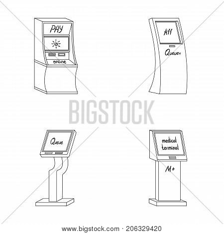 Medical terminal, ATM for payment, apparatus for queue, . Terminals set collection icons in outline style isometric vector symbol stock illustration .