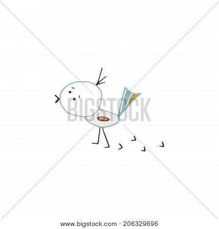 Vector hand drawn isolated element, little bird. Cute character. Simple modern design, scandinavian style. Part of a large winter collection.