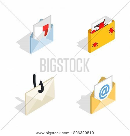Mail icon set. Isometric set of mail vector icons for web isolated on white background
