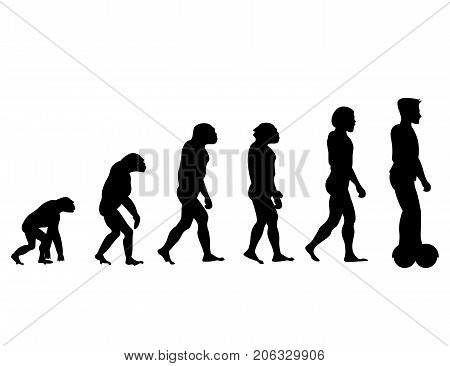Evolution theory from monkey to man on Scooter. Silhouette