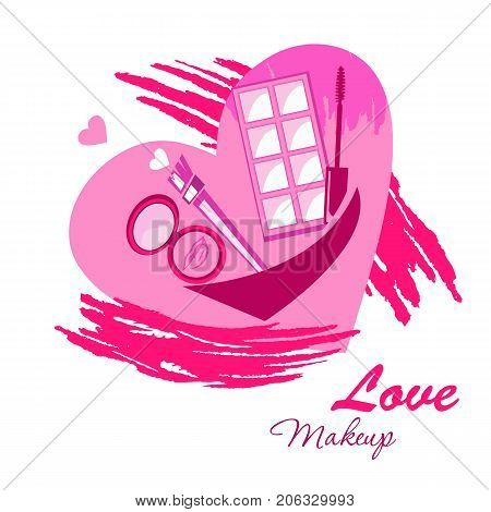 Love make up beauty logo emblem with cream brush mascara eye shadow watercolor splashes on heart. Vector template illustration Cosmetics and fashion background for business card beauty salon