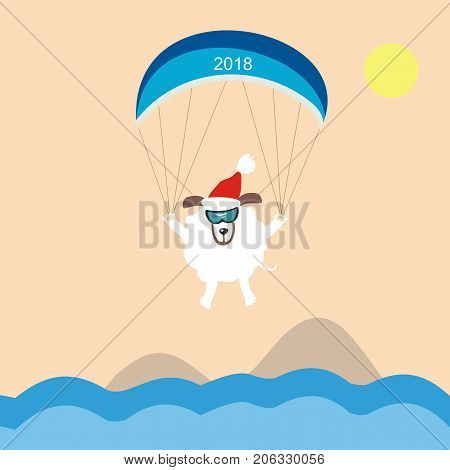 Funny dog paragliding over the sea. Symbol of the year 2018. Happy New Year and Merry Christmas! Greeting card. Vector illustration.