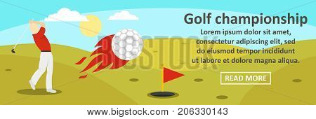 Golf championship banner horizontal concept. Flat illustration of golf championship banner horizontal vector concept for web design