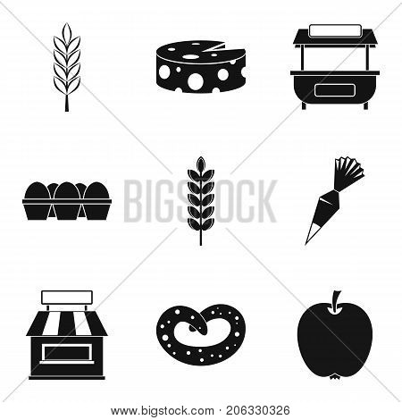 Ingredient for pizza icons set. Simple set of 9 ingredient for pizza vector icons for web isolated on white background