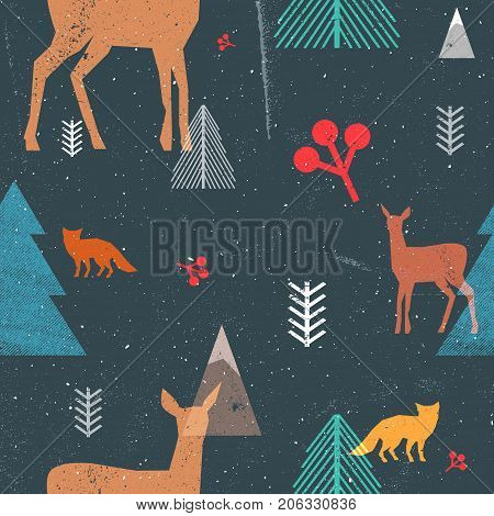 Christmas seamless pattern with woodland animals and trees in graphic style. Vector illustration with grunge texture and abstract clear forms. Dark blue and brown colors.