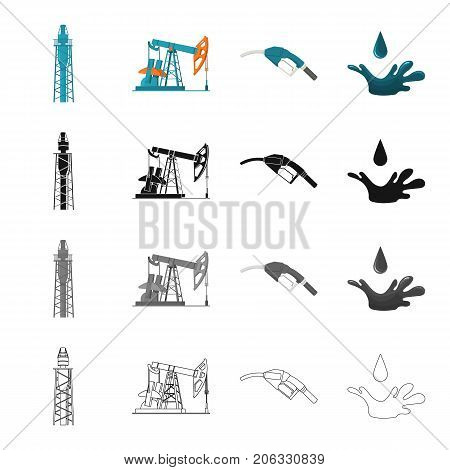 Industry, machinery, tools and other  icon in cartoon style.Fossil, fuel, substance icons in set collection.